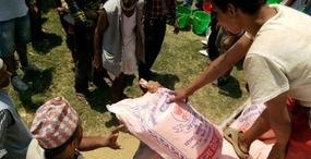 Donation of flour to Nepal diasaster victims